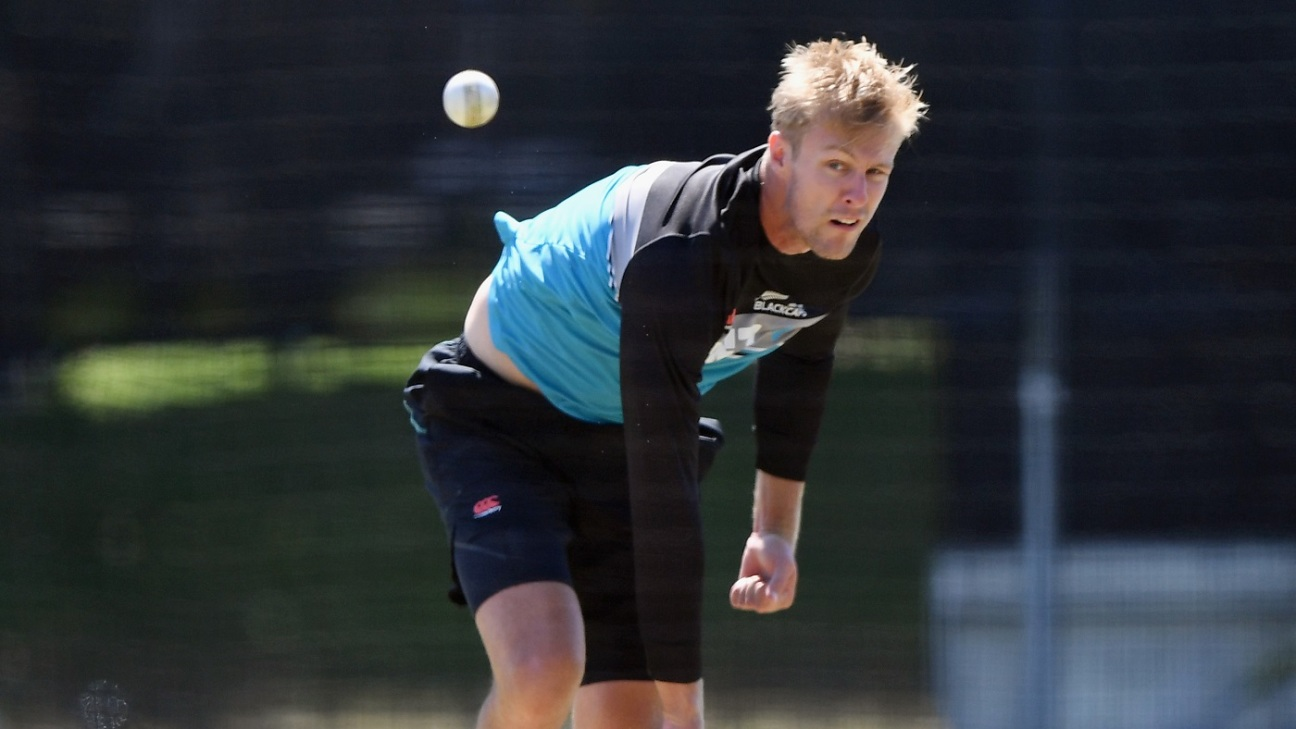 Kyle Jamieson bowls during a training session
