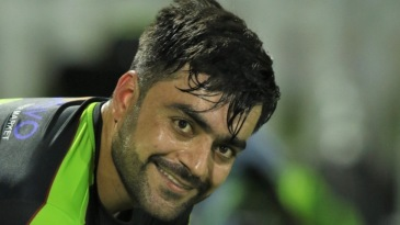 Rashid Khan pads up during a training session