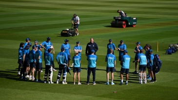 The England team gather round for a huddle ahead of the second Test