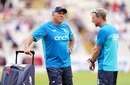 England men's head coach Chris Silverwood has a chat with assistant coach Paul Collingwood, England vs New Zealand, 2nd Test, Day 1, Birmingham, June 10, 2021