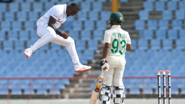Jayden Seales is jubilant after dismissing Keegan Petersen for his first Test wicket