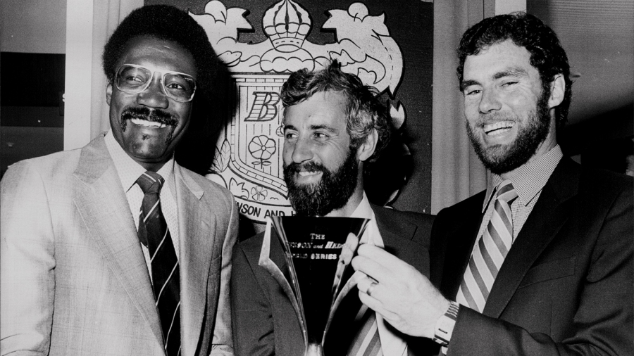 Clive Lloyd, Mike Brearley and Greg Chappell with the Benson & Hedges Cup in Sydney