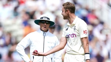Stuart Broad argues with Richard Kettleborough after Devon Conway was given not out