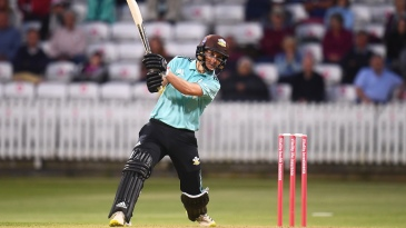 Sam Curran drives through the covers during his matchwinning performance for Surrey
