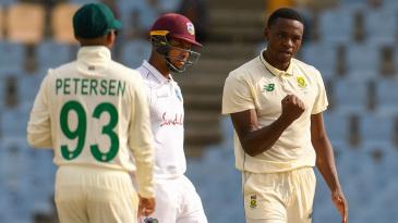 Kagiso Rabada celebrates a breakthrough