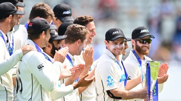 Tom Latham lifts the trophy after New Zealand won the series against England
