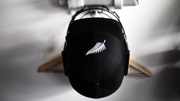 A New Zealand helmet hangs in the dressing room
