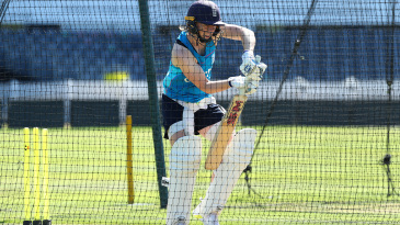 Heather Knight bats in the nets