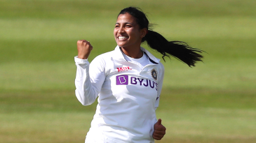 Sneh Rana took three wickets on the first day of her Test debut