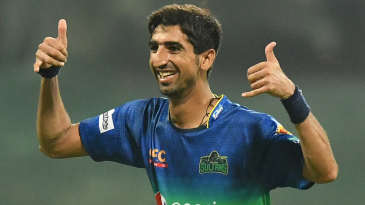 Shahnawaz Dhani celebrates one of his four wickets