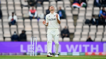 Trent Boult reacts in frustration
