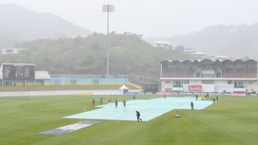 Rain delayed the start of play on day three in St Lucia
