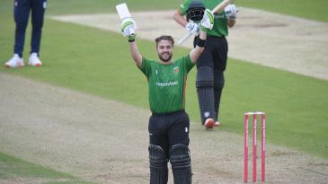 Josh Inglis celebrates after reaching his hundred