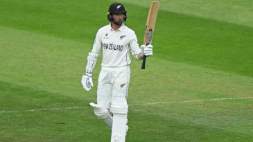 Devon Conway acknowledges the applause on getting to a fifty