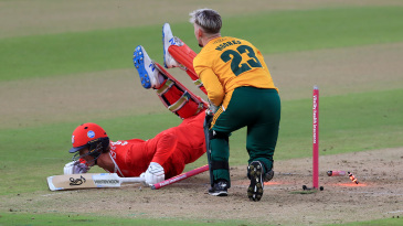 Keaton Jennings is run out by Tom Moores