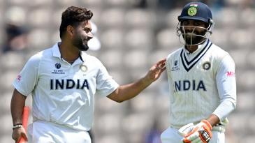 Rishabh Pant and Ravindra Jadeja share a light moment on the field