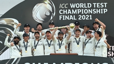 New Zealand's 15 for the WTC final with their prize: (front L to R) Ajaz Patel, BJ Watling, Devon Conway, Neil Wagner, Kane Williamson, Tim Southee, Tom Latham, Trent Boult, (back L to R), Will Young, Tom Blundell, Matt Henry, Henry Nicholls, Kyle Jamieson, Ross Taylor, Colin de Grandhomme