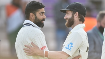 Virat Kohli and Kane Williamson have a chat after the WTC final