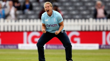Katherine Brunt is pumped up after getting rid of Shafali Verma