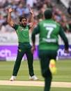 Hasan Ali celebrates the dismissal of Dawid Malan, England vs Pakistan, 2nd ODI, Lord's, July 10, 2021