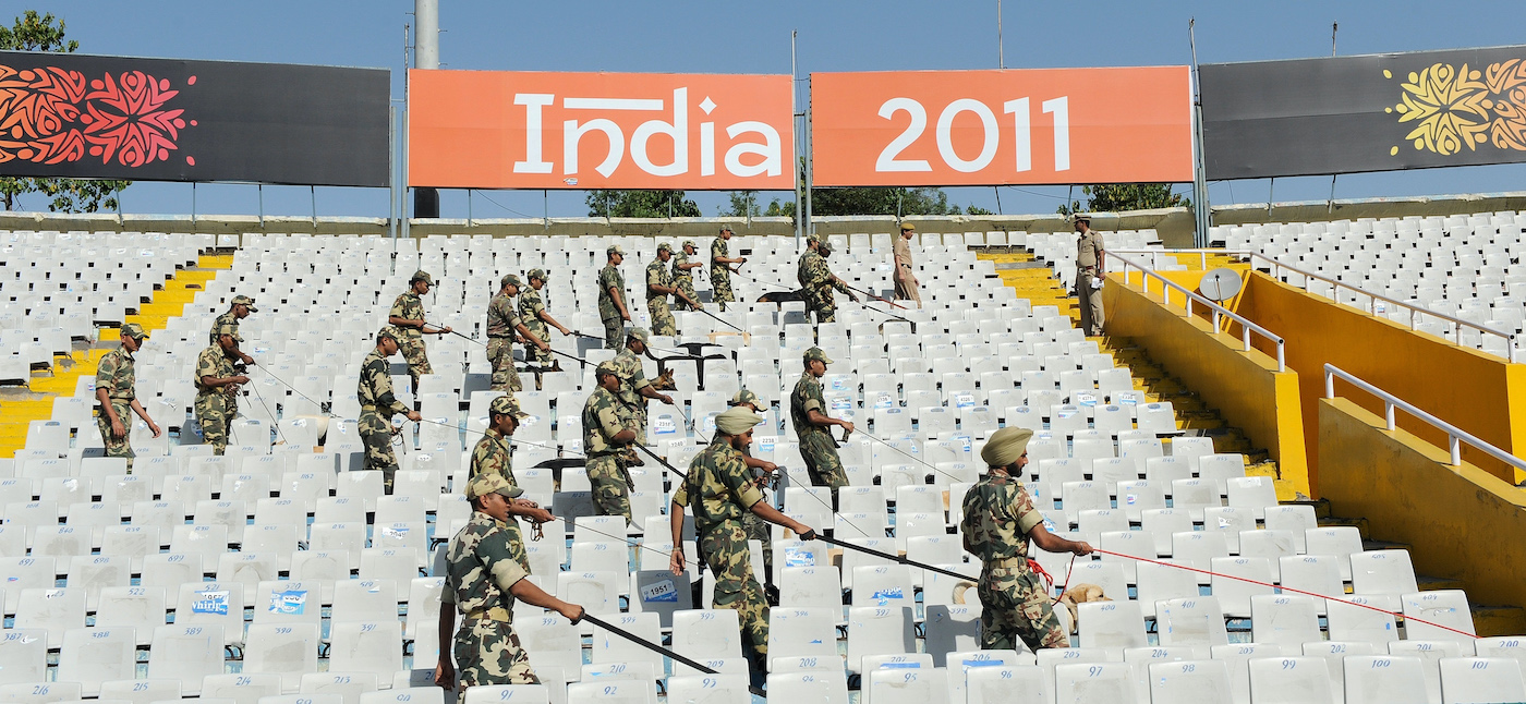 The Central Reserve Police Force's K9 bomb squad sweeps Mohali stadium for explosives before the 2011 World Cup semi-final between India and Pakistan