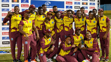 The West Indies squad after their series win