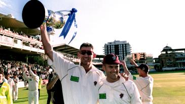 Andy Caddick and Jamie Cox hold aloft the Cheltenham & Gloucester Trophy