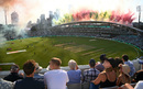 Pyros go off before the players take the field for the opening men's match, Oval Invincibles vs Manchester Originals, the Hundred, The Oval, July 22, 2021