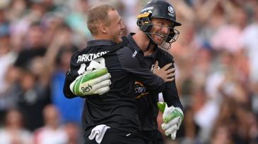 Matt Parkinson celebrates with his captain