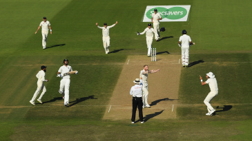 Ben Stokes celebrates after trapping Ishant Sharma leg before for a duck