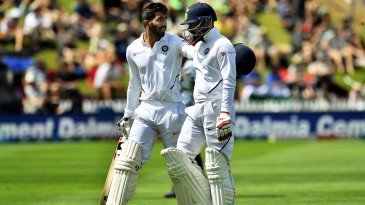 Jasprit Bumrah and Mohammed Shami walk back