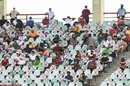 Spectators occupying a socially-distanced seating arrangement follow the match at the Providence Stadium, West Indies vs Pakistan, 2nd T20I, Guyana, July 31, 2021