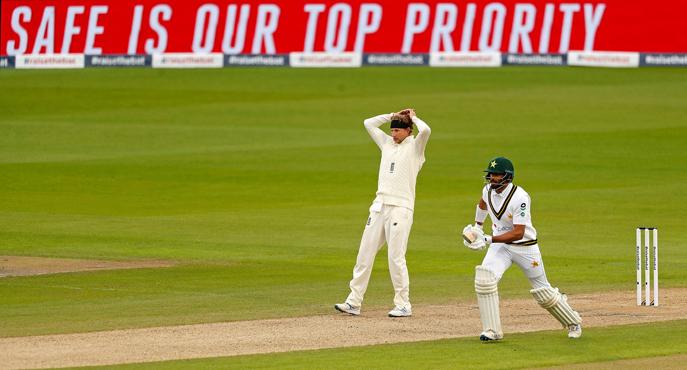 One in ten: Shan Masood takes a run in the England-Pakistan Test series last year, one of the first to be played in a bubble