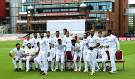 Pakistan's players have a laugh after taking a squad photo, Manchester, August 3, 2020