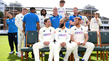 Rory Burns, Moeen Ali and Jonny Bairstow are all smiles at the team photo