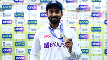 KL Rahul poses with his Player-of-the-Match medal
