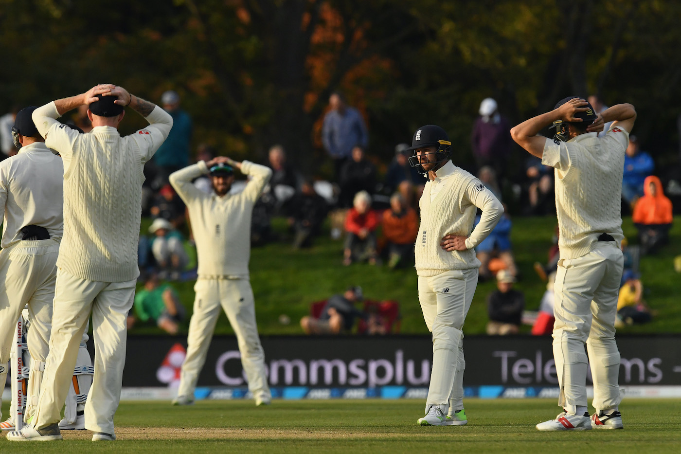 Mark Stoneman looks around at his team-mates after dropping Ish Sodhi in the second Test against New Zealand in 2018