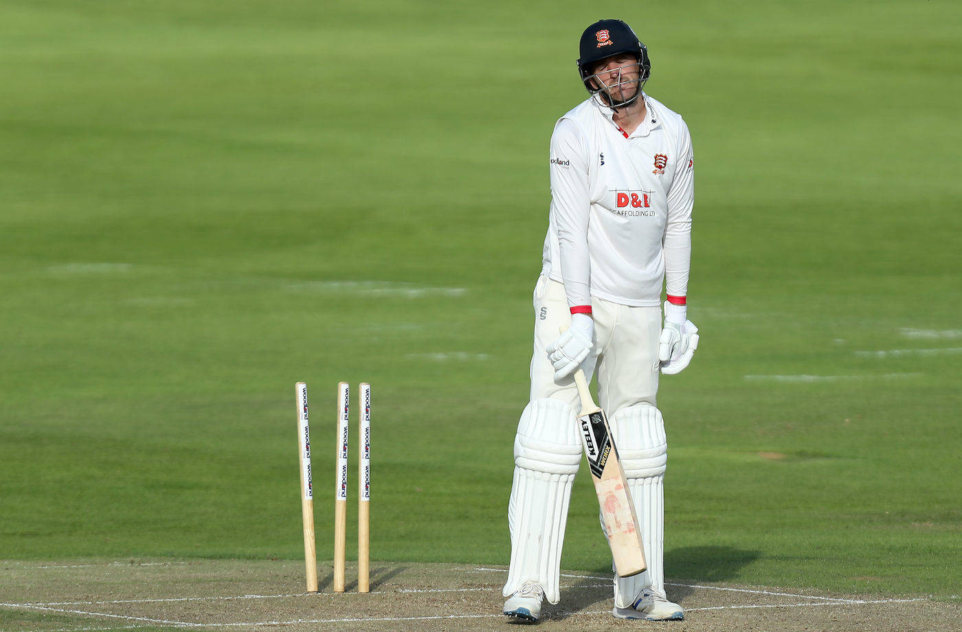 Paul Walter is a picture of abject misery after being bowled out in a game against Middlesex in the Bob Willis Trophy in 2020