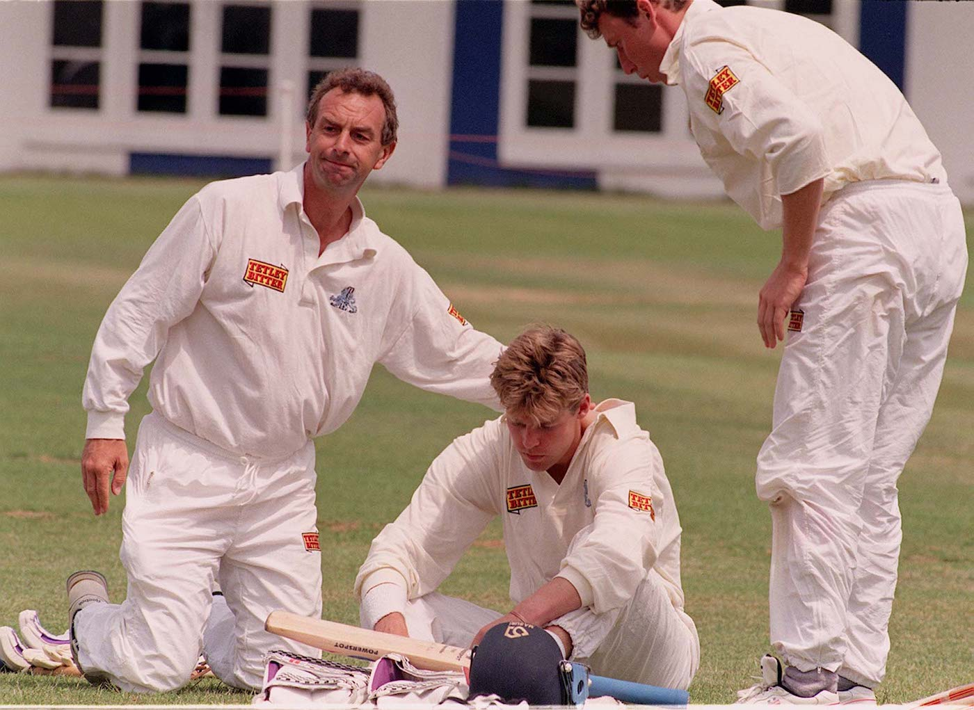 Coach David Lloyd and captain Michael Atherton break the news to Nick Knight that he won't be playing in the second Test against India in 1996