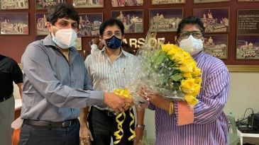 Upon being appointed the India team manager, Gargi Banerjee (R) is felicitated by Cricket Association of Bengal president Avishek Dalmiya (L)