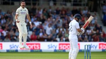 James Anderson leaps in celebration after dismissing Virat Kohli