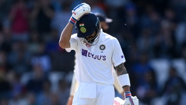 Virat Kohli is dejected after nicking off again