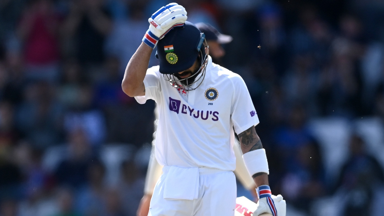 Virat Kohli leaves the field after being dismissed by Ollie Robinson