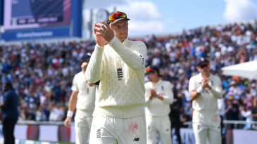 Joe Root thanks the crowd after wrapping up the win