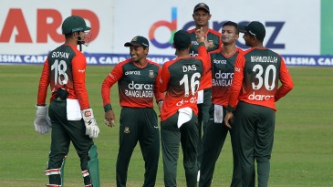 Shakib Al Hasan returned figures of two for 10 in his four overs