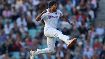 Umesh Yadav is pumped up after bowling Joe Root