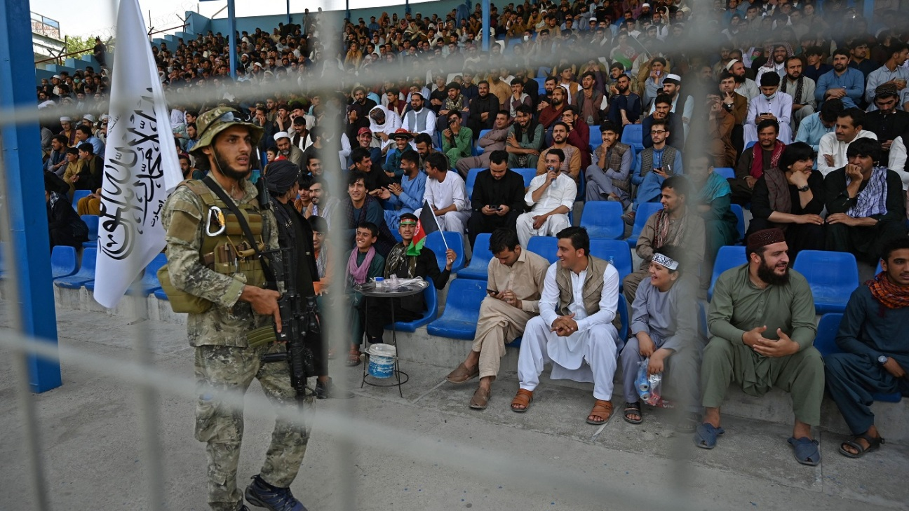 Taliban forces guarded the stadium during the T20 trial match played between two Afghan teams