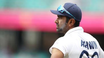 R Ashwin looks on in the field