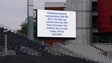 The message on the scoreboard after the fifth Test was called off