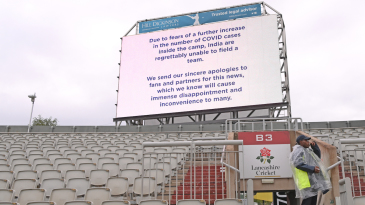 The big screen provides the update after the Old Trafford Test was cancelled